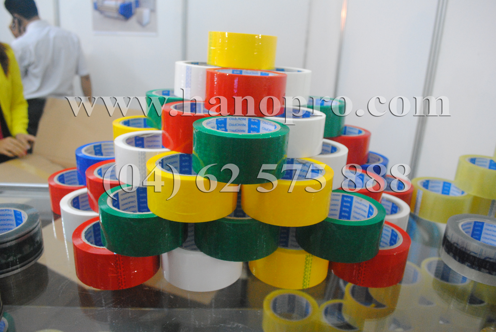 Opp packing tape in Red, yellow and blue color